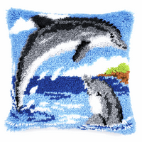 Latch Hook Kit: Cushion: Dolphins By Vervaco