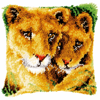 Latch Hook Kit: Cushion: Lioness and Cub By Vervaco