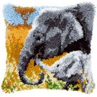 Latch Hook Kit: Cushion: Elephant Baby & His Mother By Vervaco