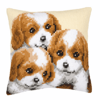 Cross Stitch Kit: Cushion: Puppies By Vervaco