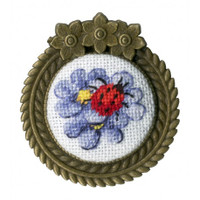 Ladybug Brooch Cross Stitch Kit by Golden Fleece