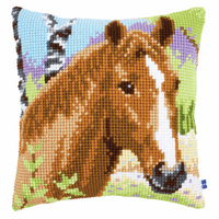 Cross Stitch Cushion Kit: Brown Mare By Vervaco
