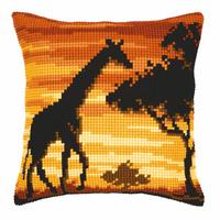 Cross Stitch Kit: Cushion: Sunset Giraffe By Vervaco