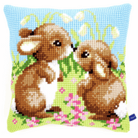 Cross Stitch Kit: Cushion: Little Rabbits By Vervaco