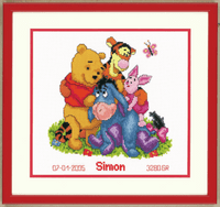 Counted Cross Stitch Kit: Birth Record: Disney: Winnie & Friends by Vervaco