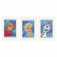Counted Cross Stitch Kit: Cards: Disney Frozen - Elsa, Olaf & Anna: Set of 3