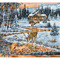 Snowy Cabin Cross Stitch Kit by Luca S