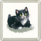 Black & White Kitten Coaster Kit  By Heritage Crafts