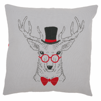 Embroidery: Cushion: Deer with Red Glasses By Vervaco