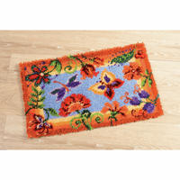 Latch Hook Kit: Rug: Flowers and Butterflies by Vervaco