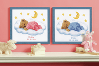 Counted Cross Stitch Kit Birth Record Teddy on Clouds by Vervaco