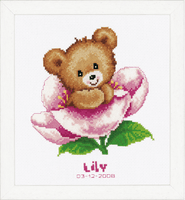 Counted Cross Stitch Birth Record Flower Teddy by Vervaco
