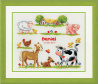 Counted Cross Stitch Kit Birth Record Farm Animals by Vervaco