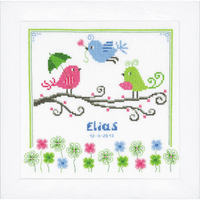Counted Cross Stitch Kit: Birth Record: Birds By Vervaco