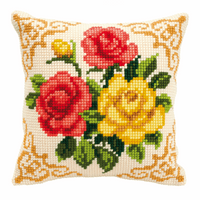 Cross Stitch Kit: Cushion: Mixed Roses By Vervaco