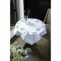 Embroidery Kit: Tablecloth: Pretty Pansies By Vervaco