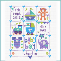 Baby Boy Squares Cross Stitch Kit by Stitching Shed
