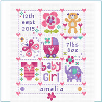 Baby Girl Square Cross Stitch Kit by Stitching Shed