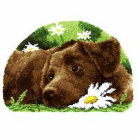 Latch Hook Kit: Rug: Chocolate Labrador By Vervaco