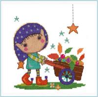 Gardening Elf Cross Stitch Kit by Stitching Shed
