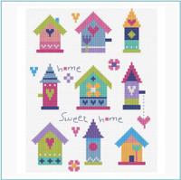 Pretty Birdhouses Cross Stitch Kit By Stitching Shed