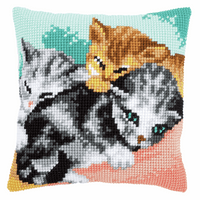 Cross Stitch Cushion Kit: Cute Kittens By Vervaco