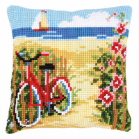 Cross Stitch Kit: Cushion: At the Beach By Vervaco