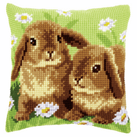 Cross Stitch Kit: Cushion: Two Rabbits By Vervaco