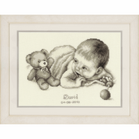 Counted Cross Stitch Kit: Birth Record: Baby with Teddy by Vervaco