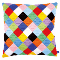 Long Stitch: Cushion: Colourful Diamonds By Vervaco