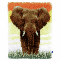 Latch Hook Kit: Rug: Elephant in the Savannah by Vervaco