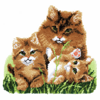 Latch Hook Kit: Rug: Shaped: Kit: Cat Family by Vervaco