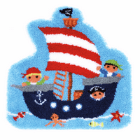 Latch Hook Kit: Shaped Rug: Pirate Ship by Vervaco