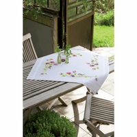 Embroidery Kit: Tablecloth: Birds & Pansies by Vervaco