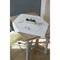 Cross Stitch Kit: Tablecloth: Flowers & Butterflies By Vervaco