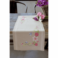 Embroidery Kit: Runner: Flowers & Butterflies By Vervaco