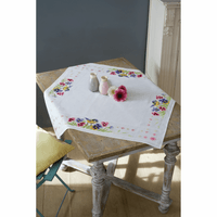 Cross Stitch Kit: Tablecloth: Bird & Violets By Vervaco