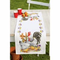 Counted Cross Stitch Kit: Runner: Chicken Family By Vervaco