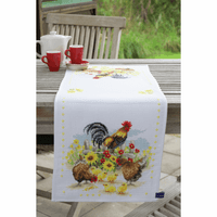 Counted Cross Stitch Kit: Runner: Chickens in Flowers By Vervaco