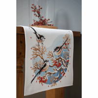 Counted Cross Stitch Kit: Runner: Long-Tailed Tits & Red Berries  By Vervaco