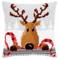 Cross Stitch Kit: Cushion: Reindeer with a Red Scarf  By Vervaco