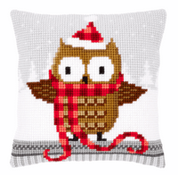 Cross Stitch Kit: Cushion: Owl in Santa Hat By Vervaco