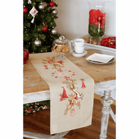 Embroidery Kit: Runner: Jumping Reindeers By Vervaco