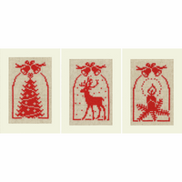 Cross Stitch Kit: Cards: Christmas Symbols: Set of 3 By Vervaco