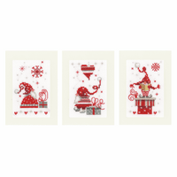 Counted Cross Stitch Kit: Greeting Cards: Christmas Gnomes: Set of 3 By Vervaco