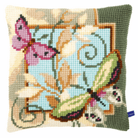 Cross Stitch Kit: Cushion: Deco Butterflies By Vervaco 2