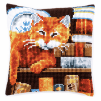 Cross Stitch Kit: Cushion: Cat and Books By Vervaco