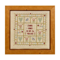Four Hearts Birth Sampler Cross Stitch By Historical Sampler Company