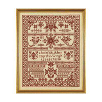 Red Pot Sampler Cross Stitch By Historical Sampler Company