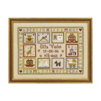 Toy Shop Birth Sampler Cross Stitch By Historical Sampler Company
